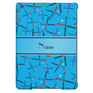 Personalized name sky blue field hockey pattern iPad air cover