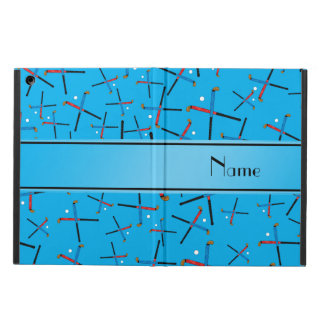 Personalized name sky blue field hockey pattern iPad air covers