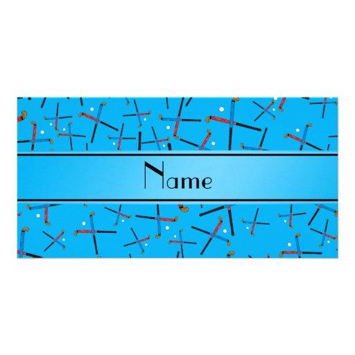 Personalized name sky blue field hockey pattern photo card