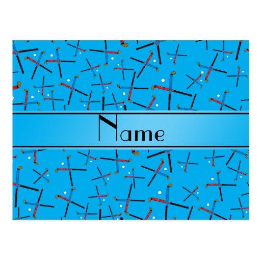 Personalized name sky blue field hockey pattern postcard