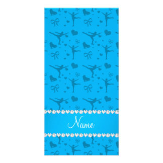 Personalized name sky blue figure skating personalized photo card