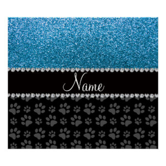 Personalized name sky blue glitter black paws posters