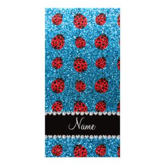 Personalized name sky blue glitter ladybug customized photo card