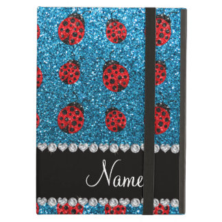 Personalized name sky blue glitter ladybug iPad air covers