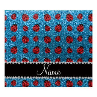 Personalized name sky blue glitter ladybug poster