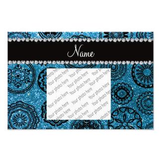 Personalized name sky blue glitter mandalas photo print