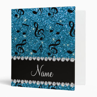 Personalized name sky blue glitter music notes vinyl binder