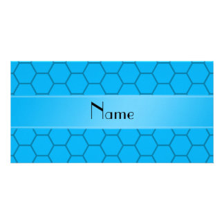 Personalized name sky blue honeycomb custom photo card