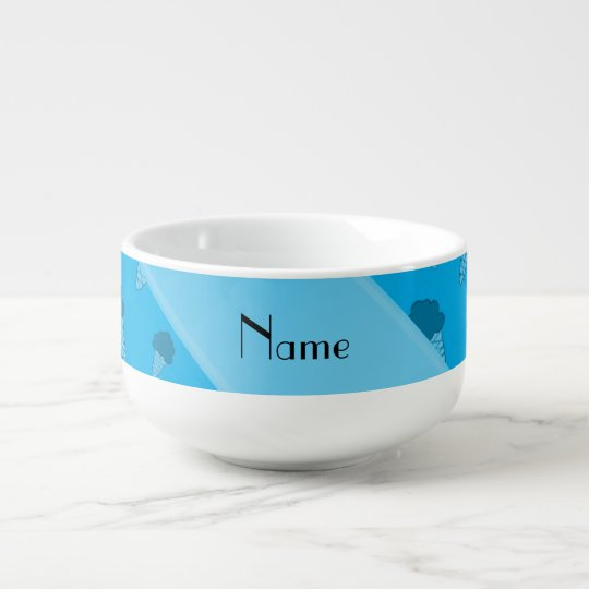 Personalized name sky blue ice cream pattern soup bowl with handle