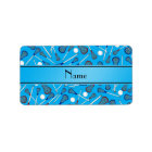 Personalized name sky blue lacrosse pattern label