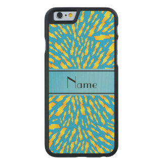 Personalized name sky blue lightning bolts carved® maple iPhone 6 slim case