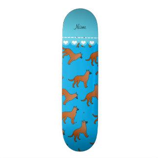 Personalized name sky blue malinois dogs skateboard