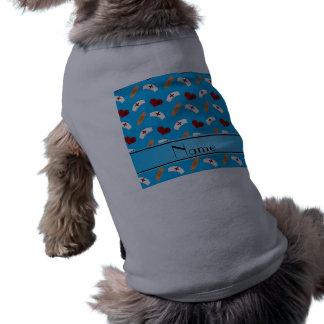 Personalized name sky blue nurse pattern doggie shirt