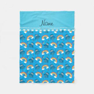 Personalized name sky blue owls rainbows stars fleece blanket