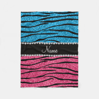 Personalized name sky blue pink glitter zebra fleece blanket