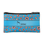 Personalized name sky blue poker chips cosmetic bag