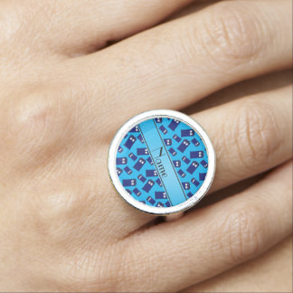 Personalized name sky blue police box ring