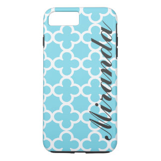 Personalized Name Sky Blue Quatrefoil Pattern iPhone 8 Plus/7 Plus Case