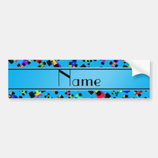Personalized name sky blue race car pattern bumper sticker