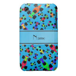 Personalized name sky blue race car pattern iPhone 3 cases
