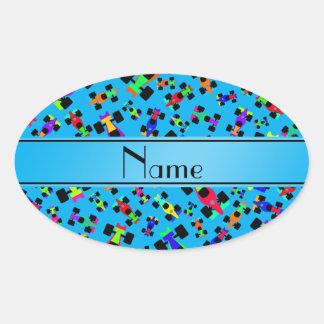 Personalized name sky blue race car pattern oval sticker