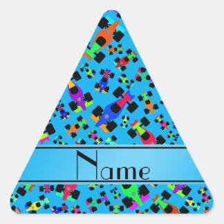 Personalized name sky blue race car pattern triangle sticker