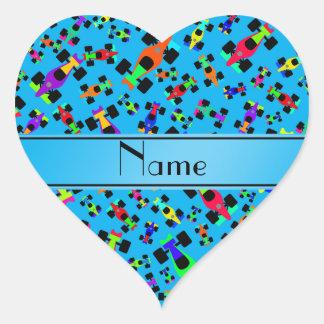 Personalized name sky blue race car pattern heart sticker