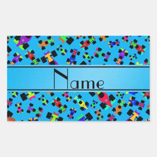 Personalized name sky blue race car pattern rectangular sticker