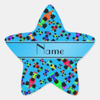 Personalized name sky blue race car pattern star sticker