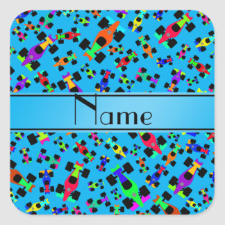 Personalized name sky blue race car pattern square sticker