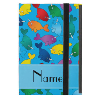 Personalized name sky blue rainbow narwhals cover for iPad mini