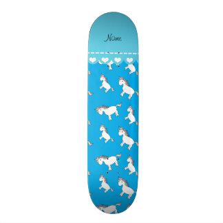Personalized name sky blue rainbow unicorns skateboard