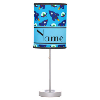 Personalized name sky blue rocket alien ships table lamp