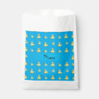 Personalized name sky blue rubber duck pattern favour bag