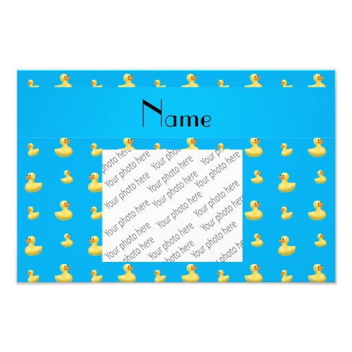 Personalized name sky blue rubber duck pattern photo print