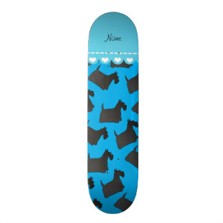 Personalized name sky blue scottish terrier dogs skateboards