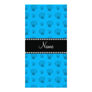 Personalized name sky blue shells photo cards