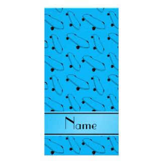 Personalized name sky blue skateboard pattern photo card