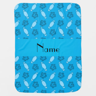 Personalized name sky blue surfboard pattern baby blanket