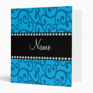 Personalized name sky blue swirls 3 ring binders
