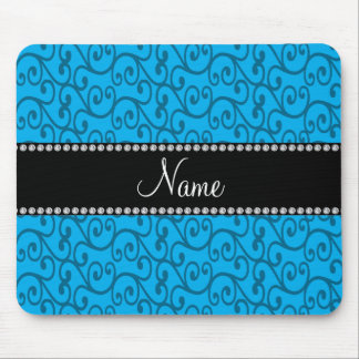 Personalized name sky blue swirls mouse pad