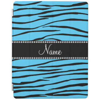 Personalized name sky blue zebra stripes iPad cover