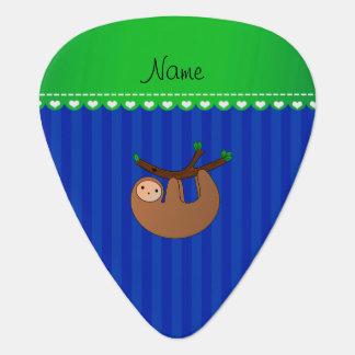 Personalized name sloth blue stripes guitar pick