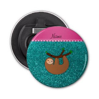 Personalized name sloth bright aqua glitter button bottle opener