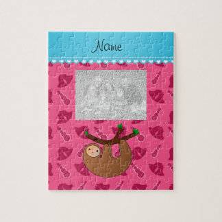 Personalized name sloth pink bells snowmen jigsaw puzzle