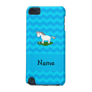 Personalized name soccer unicorn blue chevrons iPod touch 5G cases