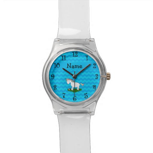 Personalized name soccer unicorn blue chevrons wrist watches