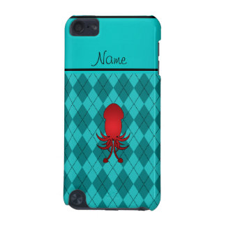 Personalized name squid turquoise argyle iPod touch 5G case