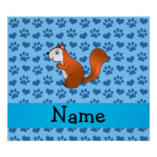 Personalized name squirrel pastel blue paws poster