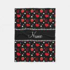 Personalized name strawberry flowers swirls fleece blanket